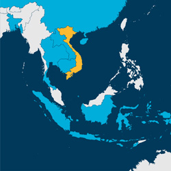 Map showing Vietnam study region